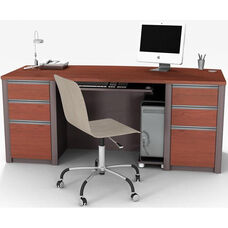 Connexion Executive Desk Set with Wire Management and Modesty Panel - Sandstone and Slate