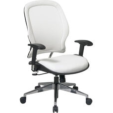 Space Vinyl Managers Chair with Adjustable Arms and Pneumatic Seat Adjustment - White