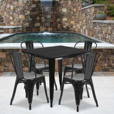 """Commercial Grade 31.5"""" Square Black Metal Indoor-Outdoor Table Set with 4 Stack Chairs"""