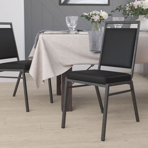 HERCULES Series Square Back Stacking Banquet Chair with Silvervein Frame