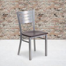 Silver Slat Back Metal Restaurant Chair with Walnut Wood Seat
