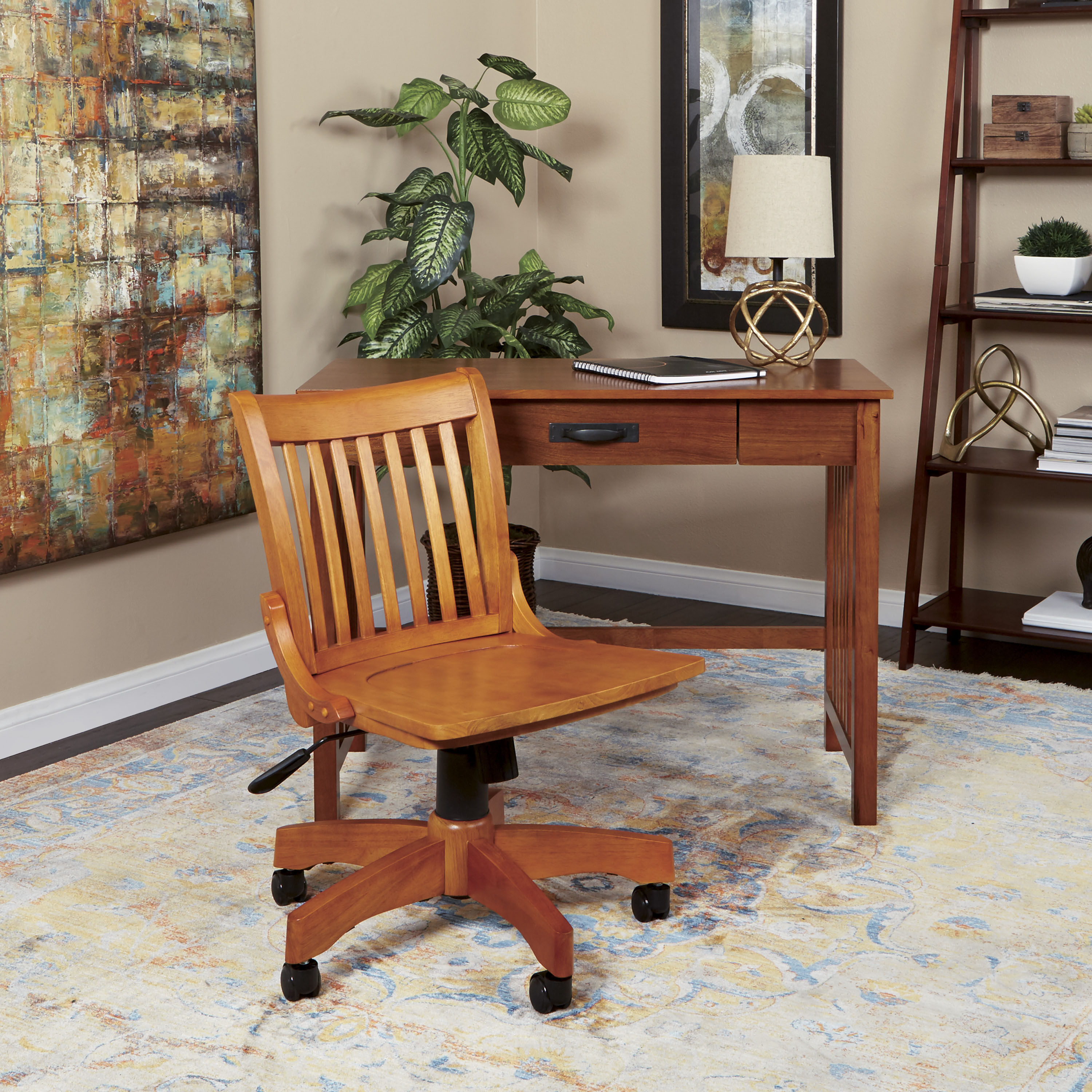 Etonnant ... Our OSP Designs Deluxe Armless Wood Bankeru0027s Desk Chair With Wood Seat    Fruitwood Is On