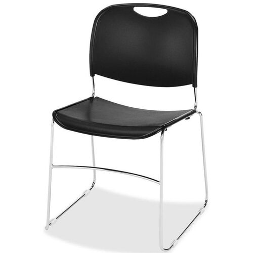 Our Lorell Black Plastic Lumbar Support Stacking Chair with Chrome Wire Frame - Set of 4 is on sale now.