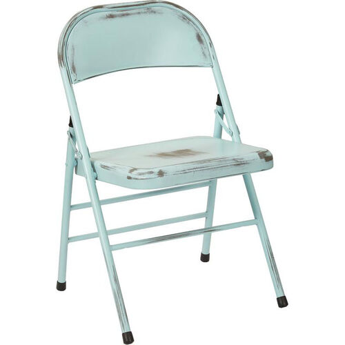 Our OSP Designs Bristow Distressed Steel Folding Chair - Set of 4 - Antique Sky Blue is on sale now.