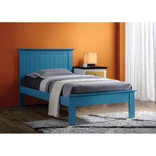 Prentiss Wooden Bed with Panel Headboard - Twin - Blue