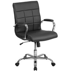 Mid-Back Black Vinyl Executive Swivel Chair with Chrome Base and Arms