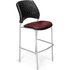 Stars Cafe Height Vinyl Seat Chair with Silver Frame - Wine