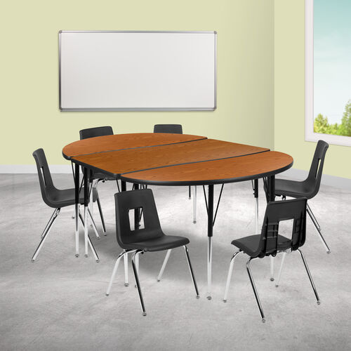 "Our 76"" Oval Wave Collaborative Laminate Activity Table Set with 18"" Student Stack Chairs, Oak/Black is on sale now."