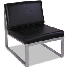 Alera® Ispara Series Armless Cube Chair with Heavy Duty Silver Steel Frame - Black Leather