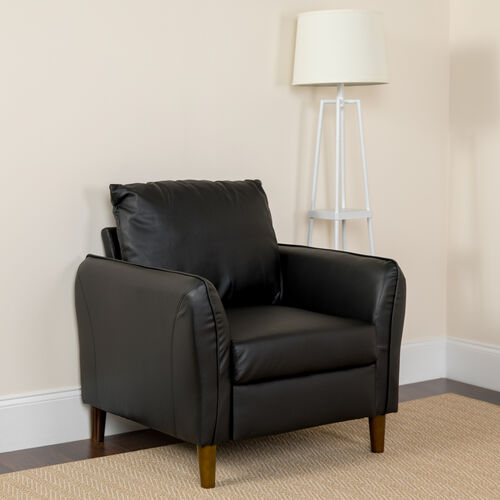 Our Milton Park Upholstered Plush Pillow Back Arm Chair in Black LeatherSoft is on sale now.