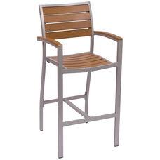Largo Arm Silver Frame Barstool - Synthetic Teak Seat & Back