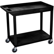 Molded Thermoplastic Resin 1 Tub/1 Flat Shelf Utility Cart with 4
