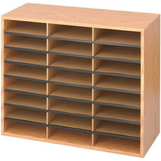 Adjustable Wooden Literature Organizer with Twenty-Four Compartments - Mahogany