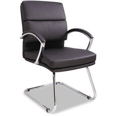Alera® Neratoli Series Slim Profile Guest Arm Chair with Chrome Cantilever Base - Black Soft Leather