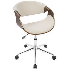 Curvo Mid-Century Modern Fabric Office Chair with Walnut Accents - Cream