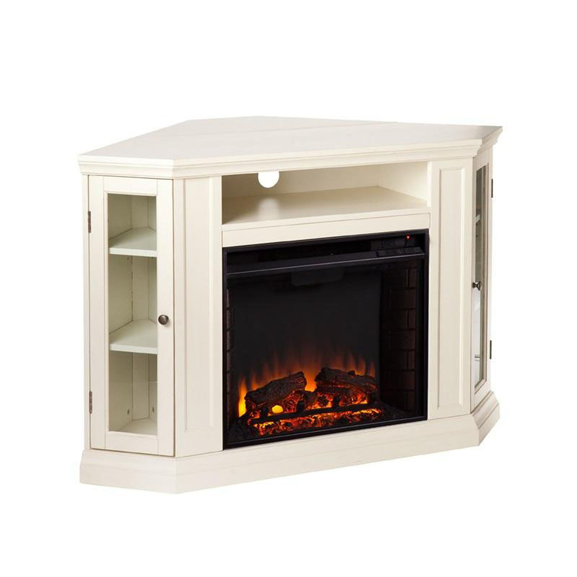 Southern Enterprises Claremont Corner Convertible Media Center With Glass Storage Doors And