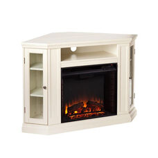 Claremont Corner Convertible Media Center with Glass Storage Doors and Electric Fireplace - Ivory
