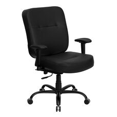 HERCULES Series Big & Tall 400 lb. Rated Black LeatherSoft Executive Ergonomic Office Chair with Adjustable Arms
