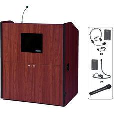 Multimedia Wireless 150 Watt Sound and Microphone Smart Podium - Cherry Finish - 48.5