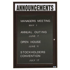 1 Door Outdoor Enclosed Directory Board with Header and Black Anodized Aluminum Frame - 36