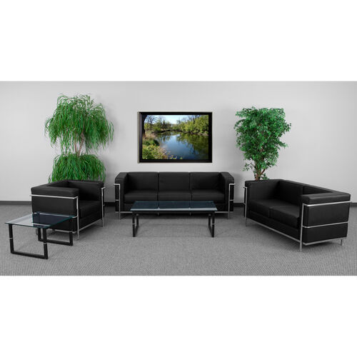 """HERCULES Regal Series Reception Set in Black LeatherSoft with <span style=""""color:#0000CD;"""">Free </span> Tables"""