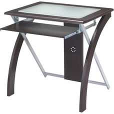 OSP Designs X-Text Computer Desk with Frosted Glass and Slide Out Keyboard Tray - Espresso
