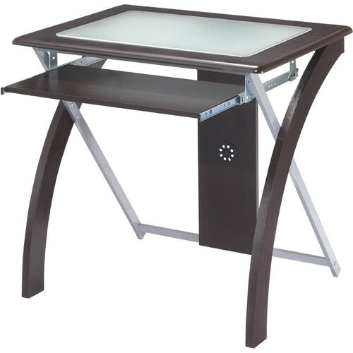 Our OSP Designs X-Text Computer Desk with Frosted Glass and Slide Out Keyboard Tray - Espresso is on sale now.