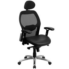 High Back Black Super Mesh Executive Office Chair with Leather Seat, Knee Tilt Control and Adjustable Lumbar & Arms
