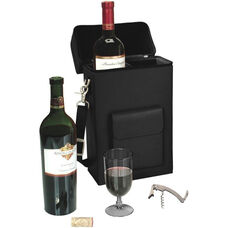 Connoisseur Wine Carrier with Stainless Steel Corkscrew - Sedona New Bonded Leather - Black