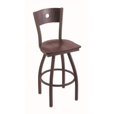 Voltaire 30'' Bronze Swivel Barstool with Dark Cherry Oak Wood Back and Seat