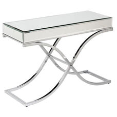 Ava Durable Metal 42.25''W x 29''H Console Table with Mirrored - Chrome