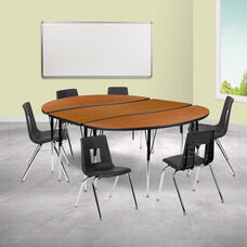 """86"""" Oval Wave Collaborative Laminate Activity Table Set with 18"""" Student Stack Chairs, Oak/Black"""