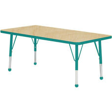 Adjustable Standard Height Laminate Top Rectangular Activity Table - Maple Top with Teal Edge and Legs - 30