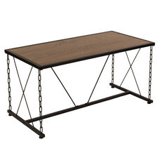 Vernon Hills Collection Antique Wood Grain Finish Coffee Table with Chain Accent Metal Frame