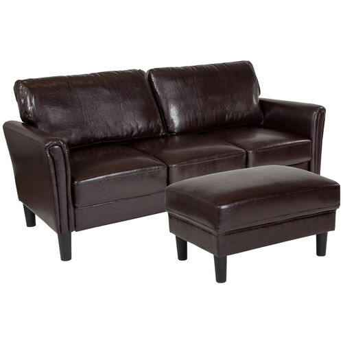 Our Bari Upholstered Sofa and Ottoman in Brown LeatherSoft is on sale now.