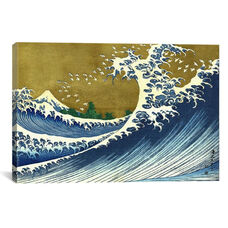 A Colored Version of The Big Wave by Katsushika Hokusai Gallery Wrapped Canvas Artwork