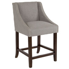 "Carmel Series 24"" High Transitional Walnut Counter Height Stool with Accent Nail Trim in Light Gray Fabric"