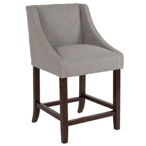 "Our Carmel Series 24"" High Transitional Walnut Counter Height Stool with Accent Nail Trim in Light Gray Fabric is on sale now."