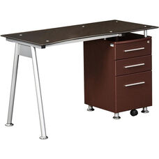 Techni Mobili Glass-top Desk with Built-in File Cabinet - Chocolate