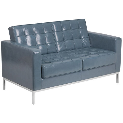 Our HERCULES Lacey Series Contemporary Gray Leather Loveseat with Stainless Steel Frame is on sale now.