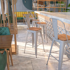 """30"""" High Silver Metal Barstool with Back and Wood Seat"""