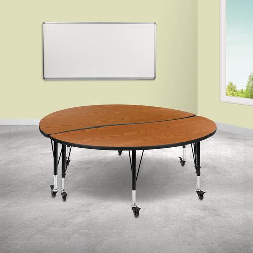 "2 Piece Mobile 60"" Circle Wave Collaborative Oak Thermal Laminate Kids Adjustable Activity Table Set"