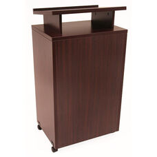Legacy 24''W x 18''D Mobile Wooden Lectern with 2 Shelves - Mahogany