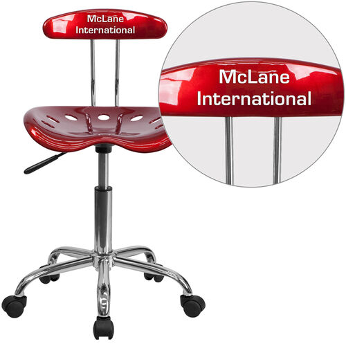 Our Personalized Vibrant Wine Red and Chrome Swivel Task Office Chair with Tractor Seat is on sale now.
