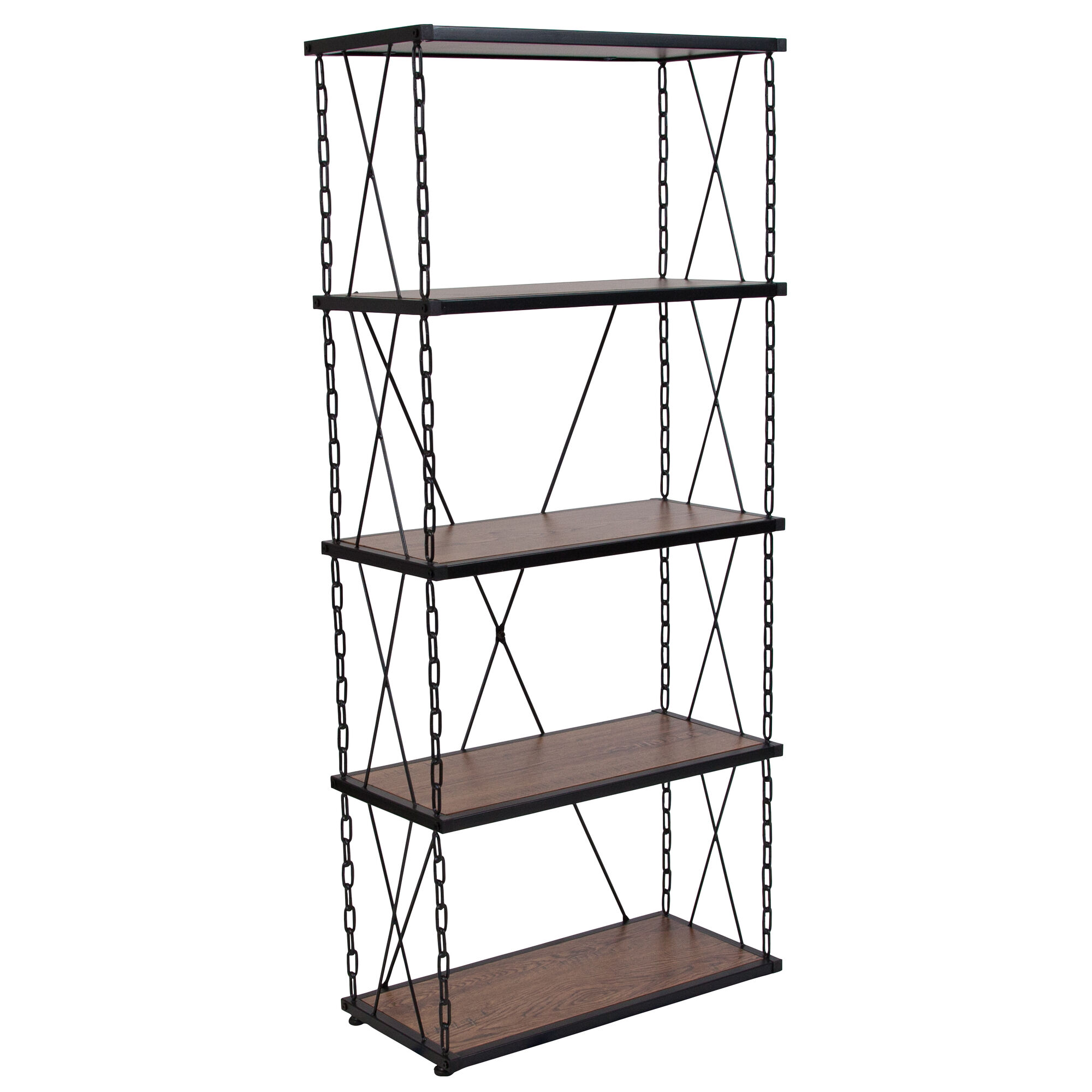 Vernon Hills Collection 4 Shelf 57 H Chain Accent Metal Frame Bookcase In Antique Wood Grain Finish