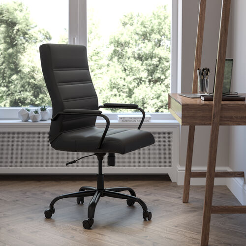 High Back Black LeatherSoft Executive Swivel Office Chair with Black Frame and Arms