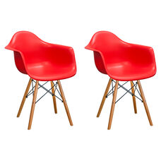 Paris Tower Arm Chair with Wood Legs and Red Seat - Set of 2