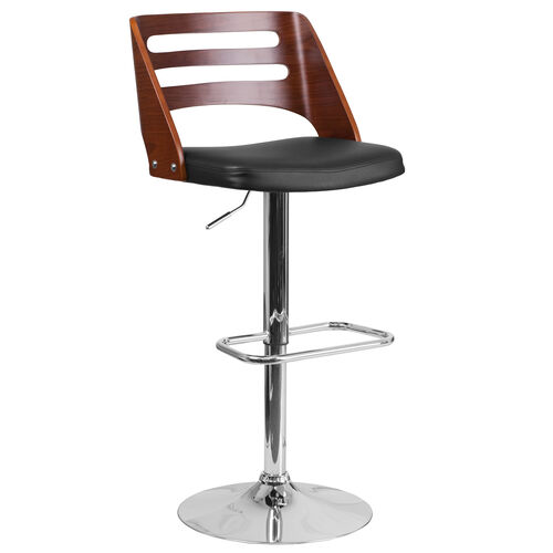 Our Walnut Bentwood Adjustable Height Barstool with Side Panel Slot Back and Black Vinyl Seat is on sale now.