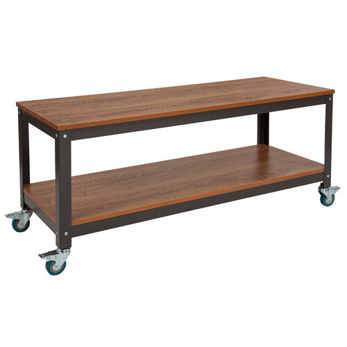 Our Livingston Collection TV Stand in Brown Oak Wood Grain Finish with Metal Wheels is on sale now.