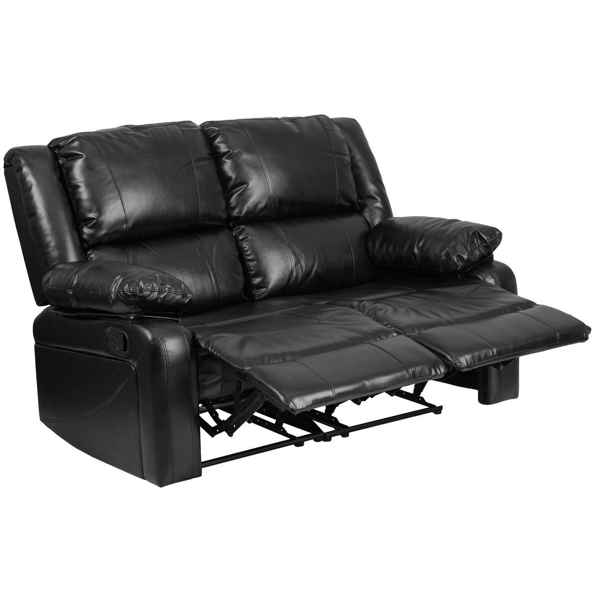 Super Harmony Series Black Leather Loveseat With Two Built In Recliners Inzonedesignstudio Interior Chair Design Inzonedesignstudiocom